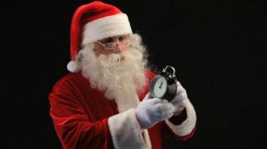 Santa med klocka — Stockvideo