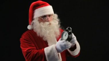 Santa with clock — Vídeo Stock