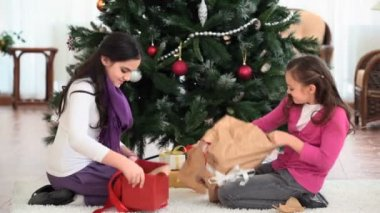 Unwrapping gifts — Stock Video