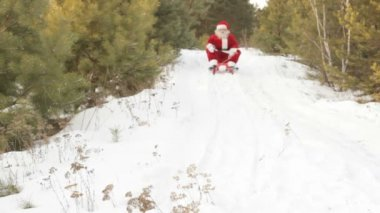Santa on sled — Stock Video