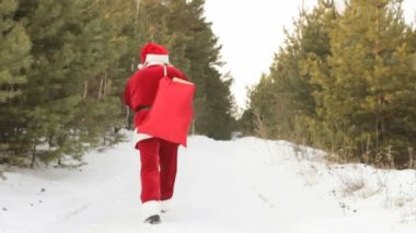 Carrying sack of presents — Stock Video