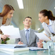 Boss and secretaries — Stock Photo