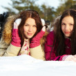 Girls on snow — Stock Photo