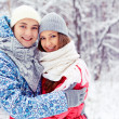 Couple in winter park — Stock Photo #19223491