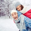Couple in winter park — Foto de Stock