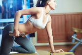 Exercising in sport club — Stock Photo