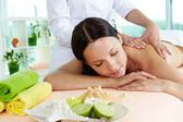 On massage table — Stock Photo