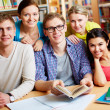 Gathered in library — Stock Photo