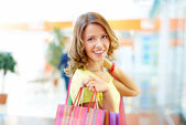 Happy with shopping — Stock Photo