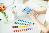 Working with palette — Stock Photo
