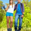 Couple on roller skates — Stock Photo