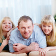 Dad and daughters - Stock Photo