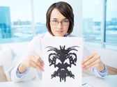 Doctor with inkblot — Stock Photo