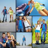 Casal de patinadores de rolo — Foto Stock