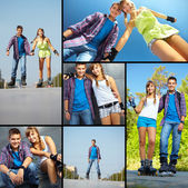 Couple of roller skaters — Stockfoto