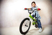 Little mountainbiker — Stock Photo