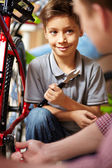 Bike repair service — Stock Photo