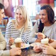 Friends in cafe — Stock Photo