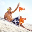 Sand-boarder at leisure — Stock Photo