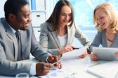 Looking at business plan — Stock Photo