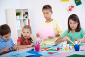 Kids at lesson — Stock Photo