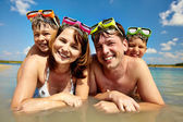 Family of divers — Stock Photo