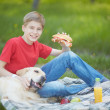 Picnic with dog — Stock Photo