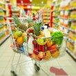 Cart with products — Stock Photo