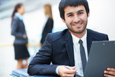 Boss with document — Stock Photo