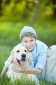 Boy and his friend — Stock Photo