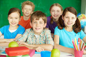 Happy schoolkids — Stock Photo