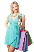 Shopper with credit card — Stockfoto