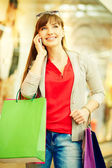 Shopper phoning — Stock Photo