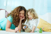 Drawing with daughter — Stock Photo