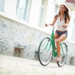 Joyful bicyclist — Stockfoto #29874935