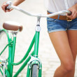 Legs of bicyclist — Stock Photo