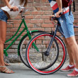 Love among bicycles — 图库照片