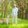 Playing with dog — Stock Photo
