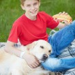 Leisure with dog — Stock Photo