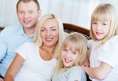 Twins and their parents — Stock Photo