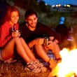 Campers by the fire — Stock Photo