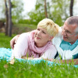 Couple on the lawn — Stock Photo