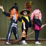 Halloween girls on broom — Stock Photo