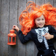 Stock Photo: Girl with lantern