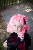 Girl in Halloween clothes — Stock Photo