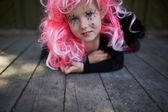 Girl with pink hair — Stock Photo