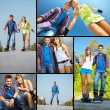 Stock Photo: Couple of roller skaters
