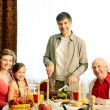 Together at festive table — Foto Stock