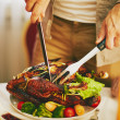 cutting meat — Stock Photo