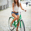 Pretty cyclist — Stock Photo